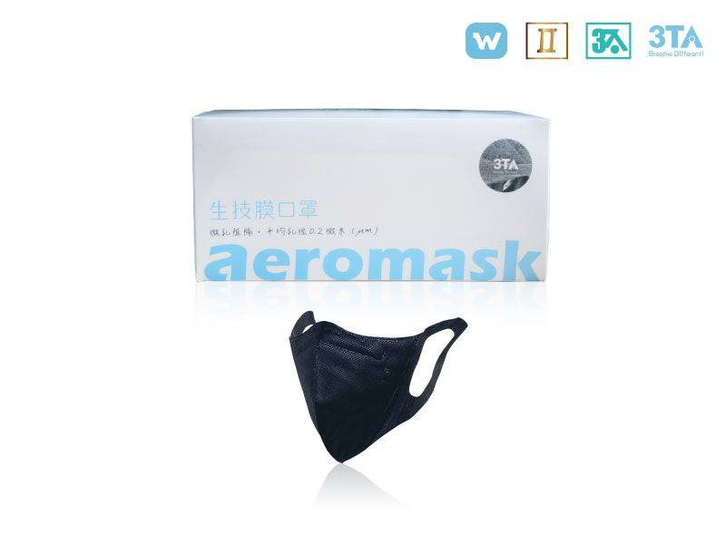 W型納米生技膜口罩(30入/成人/可水洗/可酒精清洗/黑)