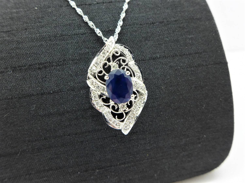 天然藍寶鑽石墜子 1.5ct 配鑽共30分 白K金 (不含鍊) n0490-01