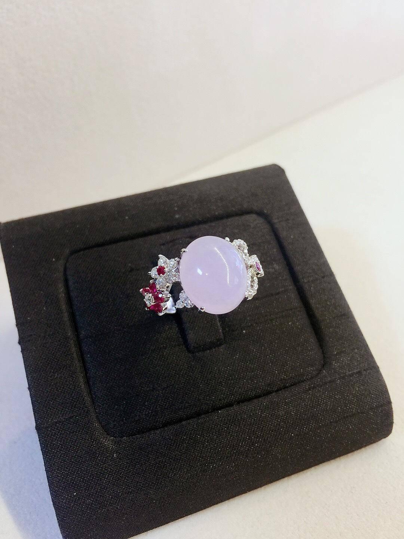 天然翡翠紫羅蘭花蝶鑽戒 18白K金 n0691-03