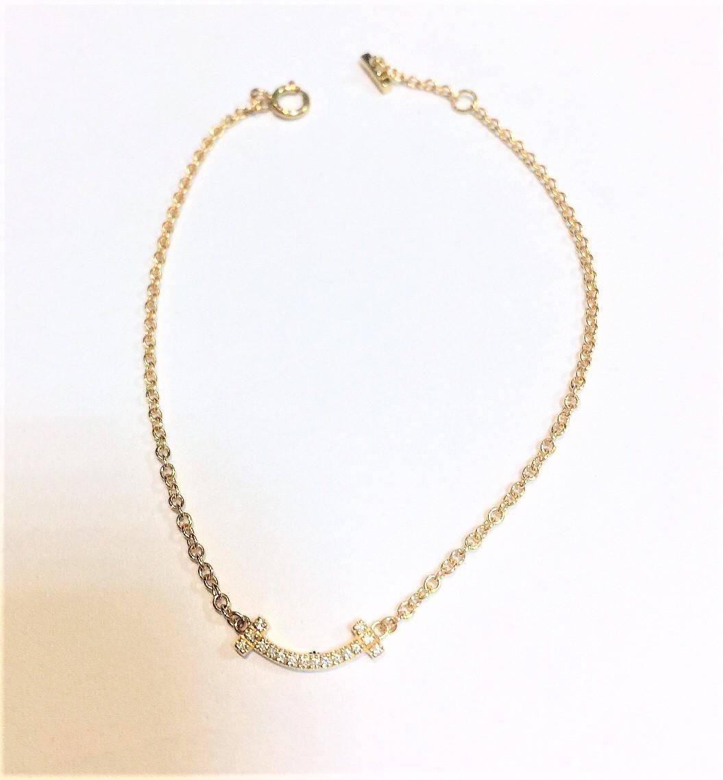 Tiffany T- Smile 迷你微笑系列鑲嵌圓形鑽石手鏈 18k黃金 n0716