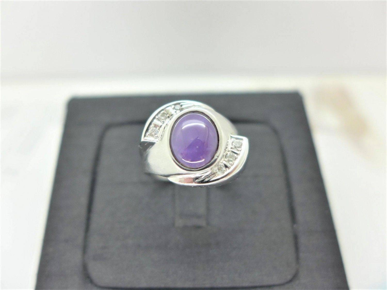 貓眼石 鑽石戒指 2.88錢 配鑽6P約20分 純白金 m1264-05