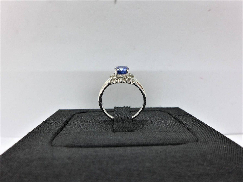 天然藍寶石鑽石戒指 0.882ct 配鑽約10分 14K n0304-03