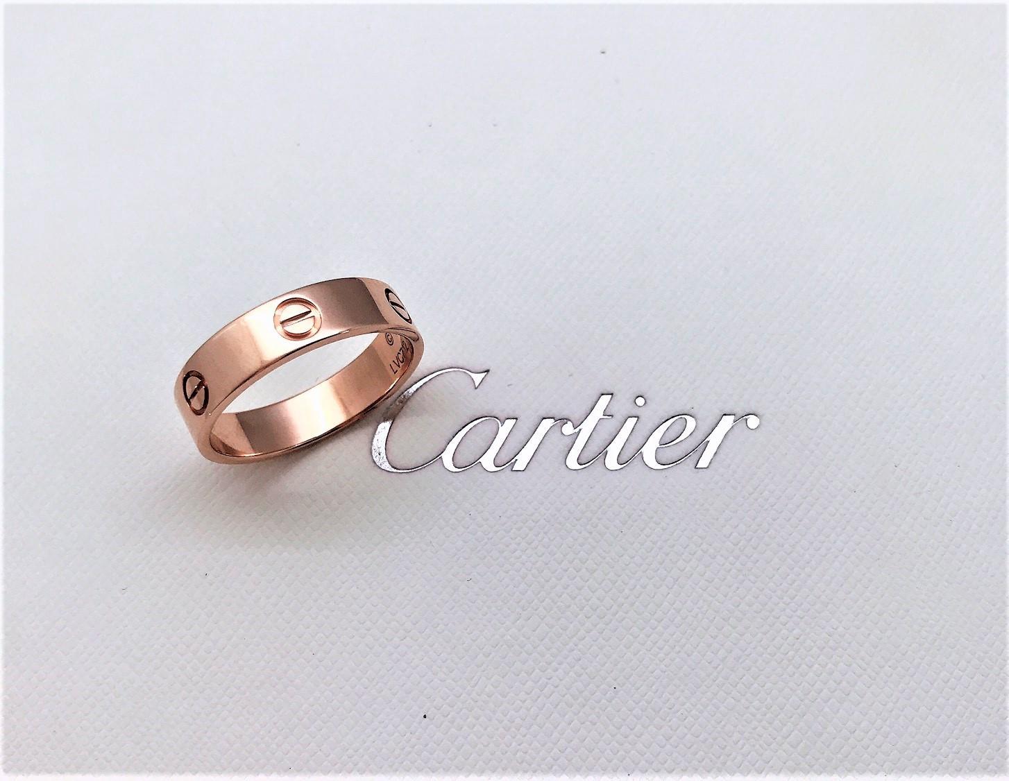 Cartier 卡地亞 LOVE 戒指 寬版64號 18K玫瑰金  n0742-01