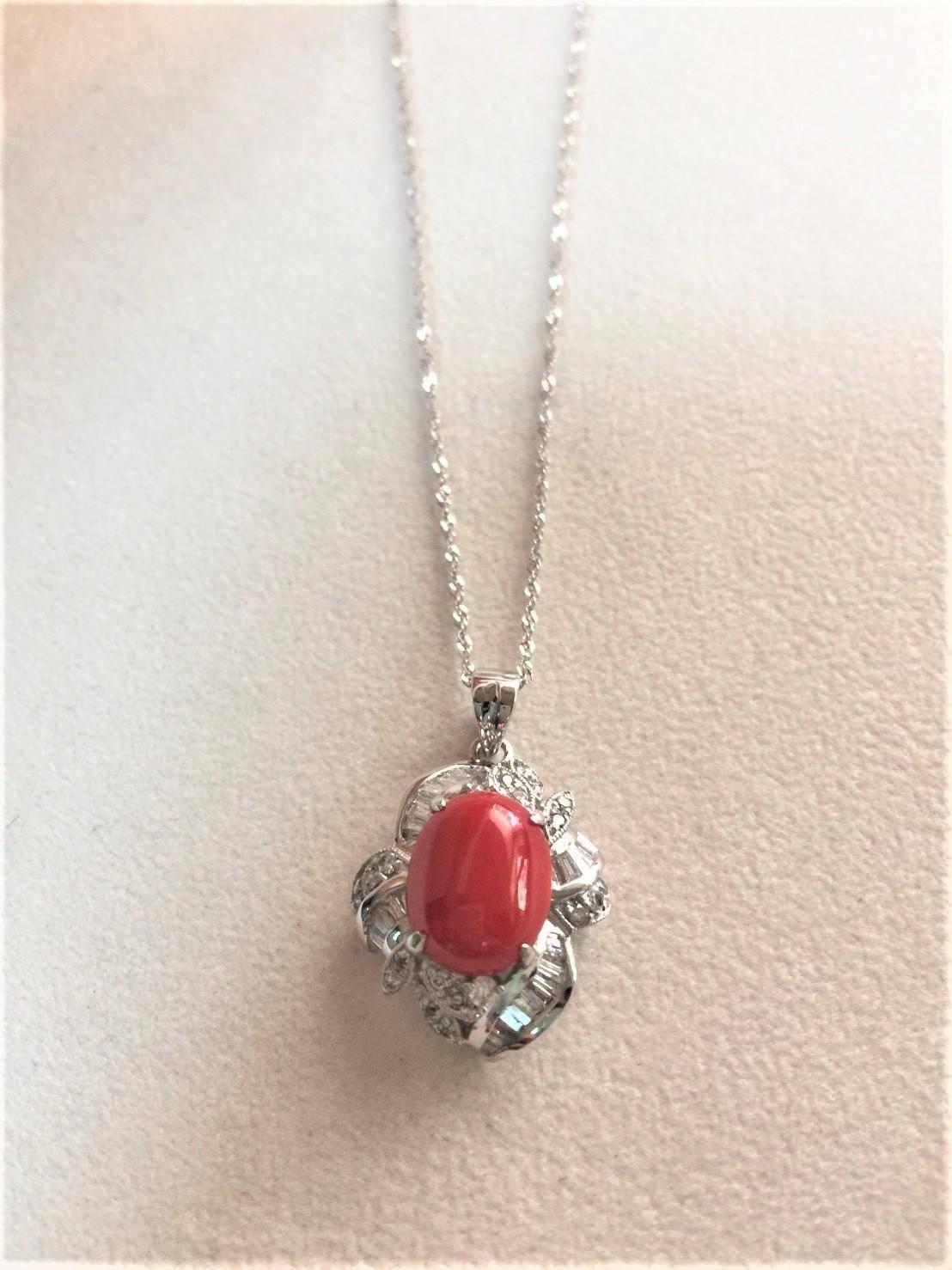 天然珊瑚鑽石墜子項鍊 14白K金 n0691-10