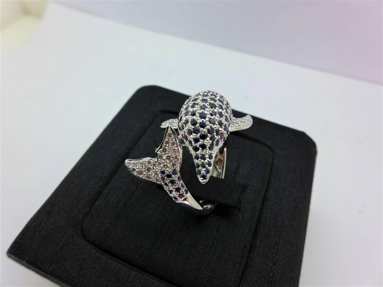 天然藍寶鑽石戒指 藍寶共7.5ct 配鑽0.5ct 手工訂製18K海豚造型戒台 n0548-03