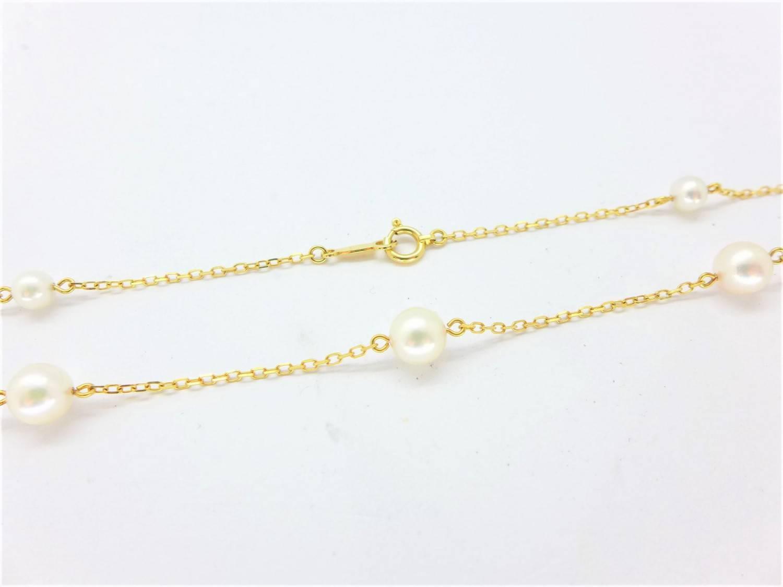 天然珍珠短版項鍊 共9顆珍珠 黃18K金 n0573-04